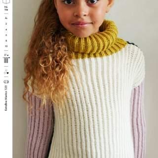 1836 Patentstickad tröja (2-10år)  i Extrafine merino 120 eller Vital
