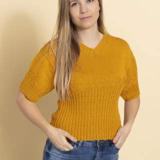 2346 T-shirt med mösterbård i Cotton 100