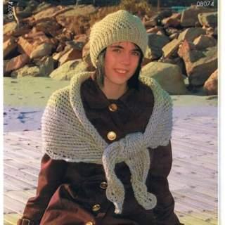 Mönster mössa och sjal i Eco ull 08074