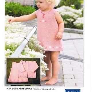 Mönster baby/barn klänning & kofta i Eco bomull 11032