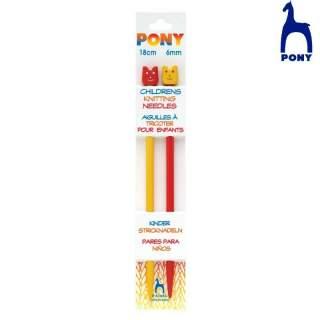 Childrens Knitting Needles 18 cm Pony