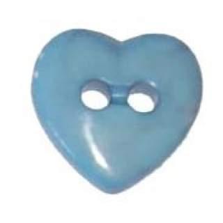 Hjärtformad knapp blå 13mm