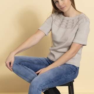 2331 T-shirt med hålmöstrat ok i Arezzo lin