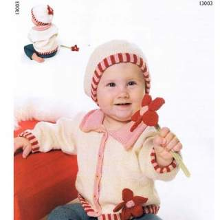 Mönster 13003 Kofta och mössa i Eco Babybomull