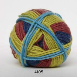 Extrafine Merino 120 4105 oliv/blå/röd