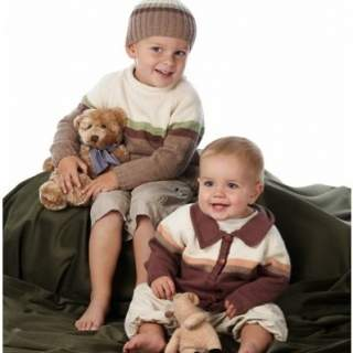 Mönster babytröja, kofta o mössa i Eco Babybomull 08023