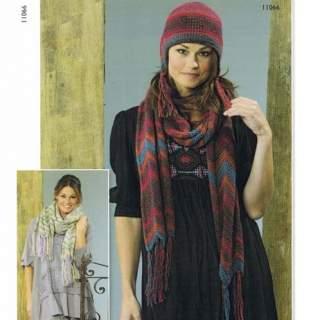 Mönster 11066 mössa, halsduk och sjal i Bigtrend