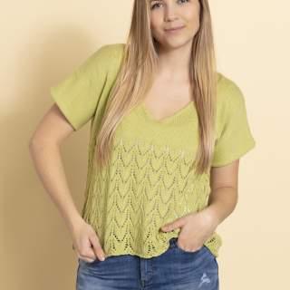 2336 T-shirt med hålmöstrat ok i Lana Cotton