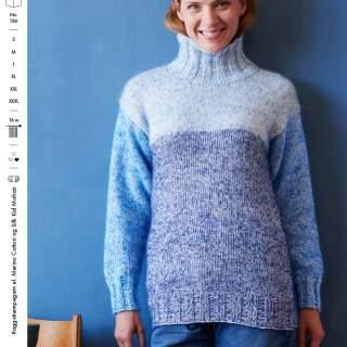 1851 tröja med hög hals i Merino cotton & Silk kid mohair